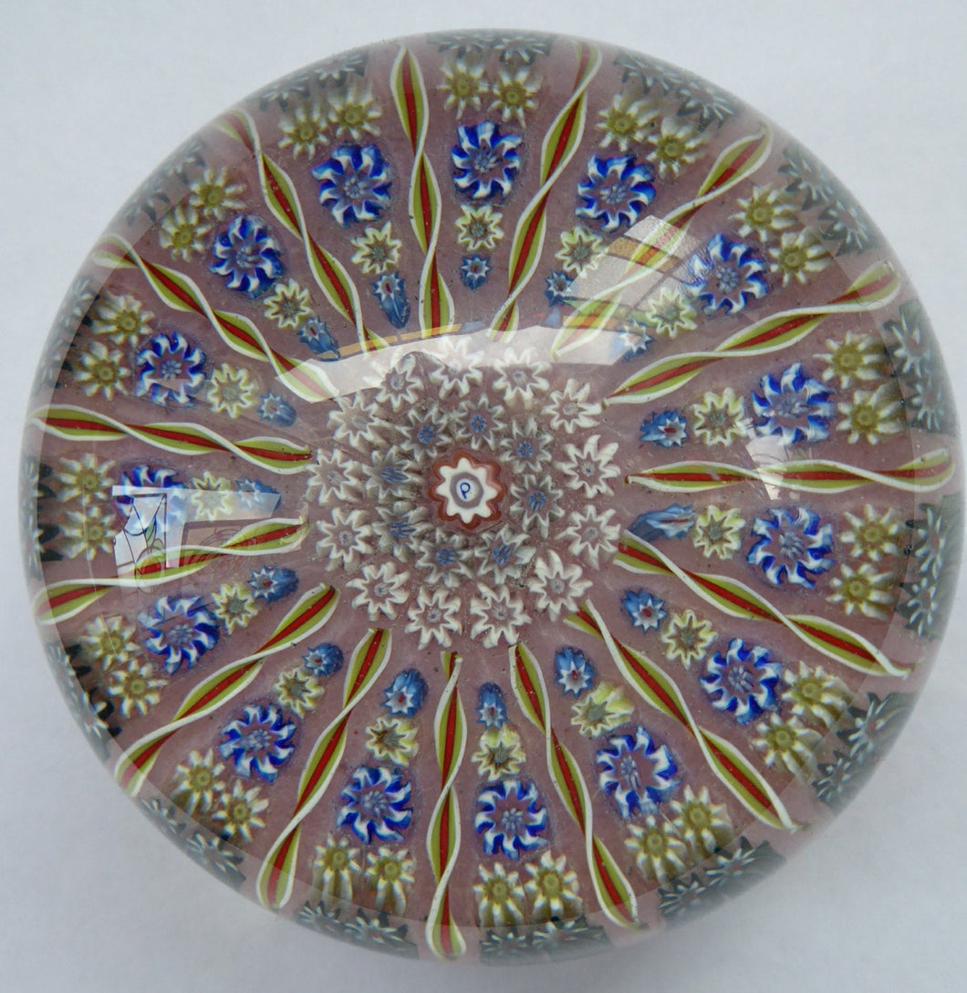 LARGE Vintage Scottish PERTHSHIRE Paperweight. Sugar Pink Ground, 15 Spokes & Millefiori Canes. P Cane in Center