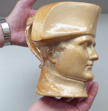 Load image into Gallery viewer, Rare 1850s LARGE Stephen Green Pottery Lambeth Stoneware Jug Featuring the Bust of Napoleon Bonaparte