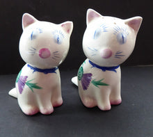 Load image into Gallery viewer, Very Rare PLICHTA, LONDON (Wemyss) Cats Cruets. Salt and Pepper Pots with Thistle Pattern. Purr-fectly Cute!