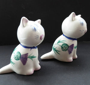 Very Rare PLICHTA, LONDON (Wemyss) Cats Cruets. Salt and Pepper Pots with Thistle Pattern. Purr-fectly Cute!