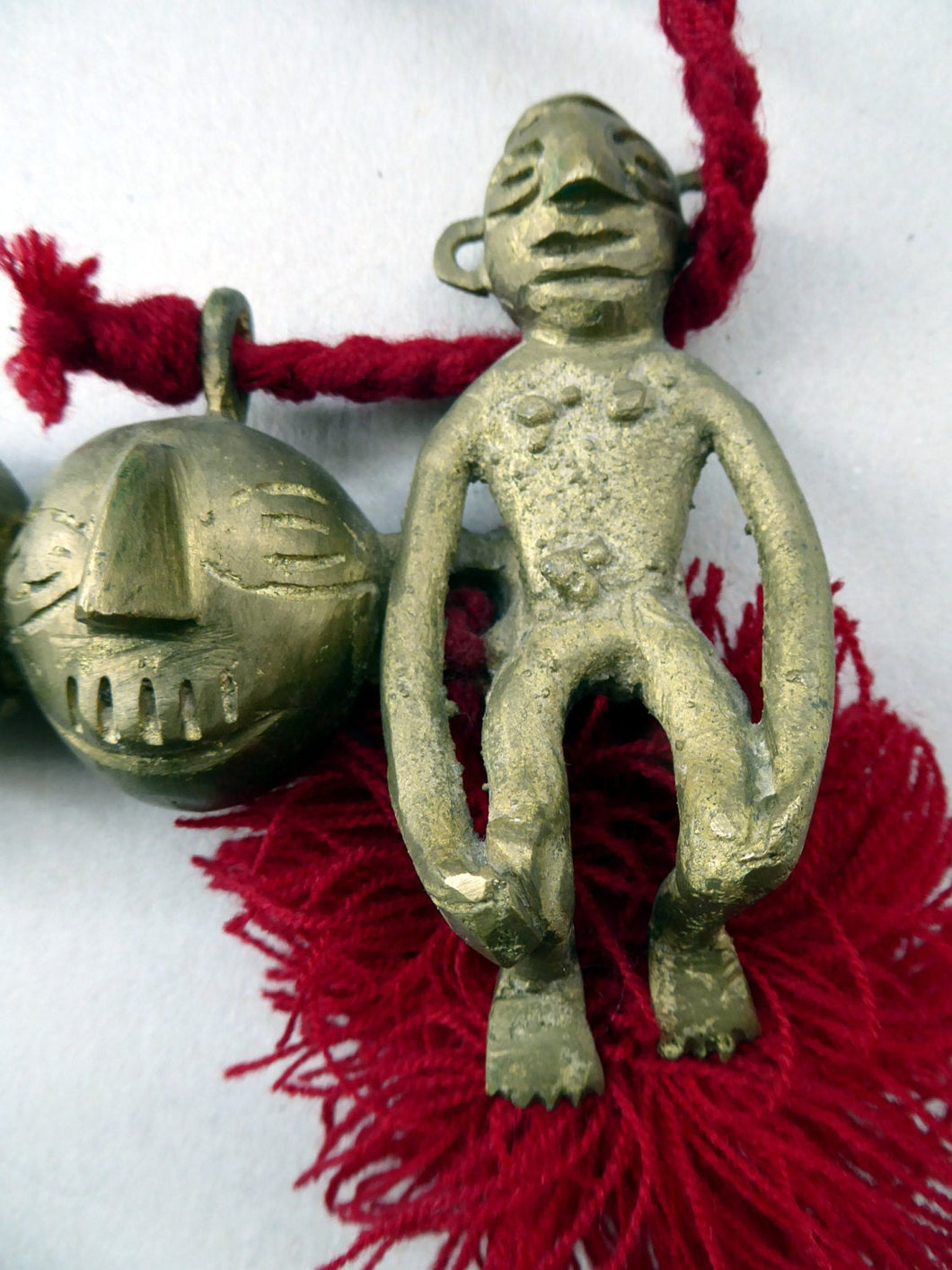 Vintage NAGALAND Cast Brass Chest Ornament - FIVE  Conjoined Heads and Two Full Figures