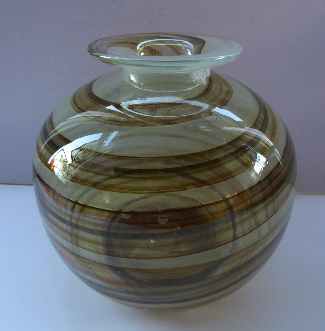 Isle of Wight Studio Glass  by Michael Harris, c 1970. LARGE Tortoiseshell Globular Vase