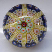 Load image into Gallery viewer, Beautiful VASART Scottish Glass Paperweight with 8 Spokes; with yellow ground, latticino canes & millefiori