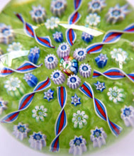 Load image into Gallery viewer, Vintage Scottish PERTHSHIRE Paperweight. Pea Green Ground, 11 Spokes & Millefiori Canes. P Cane in Center