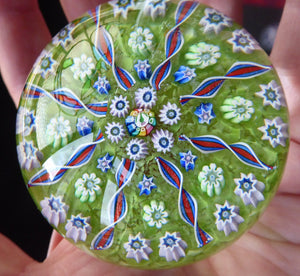 Vintage Scottish PERTHSHIRE Paperweight. Pea Green Ground, 11 Spokes & Millefiori Canes. P Cane in Center