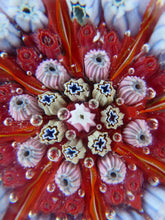 Load image into Gallery viewer, Beautiful VASART Scottish Glass Paperweight with 8 Spokes; with red ground ground, latticino canes & millefiori