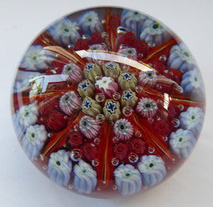 Beautiful VASART Scottish Glass Paperweight with 8 Spokes; with red ground ground, latticino canes & millefiori