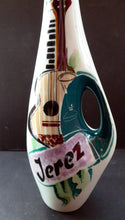 Load image into Gallery viewer, Vintage 1960s Amorphic White Porcelain Drinks / Cocktails Bottle or Decanter. JEREZ: Embellished with image of Spanish Guitar