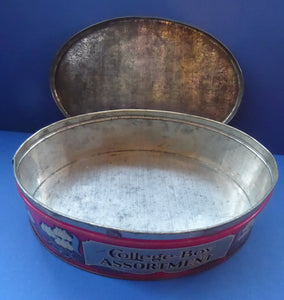 Rare Early 20th Century Art Nouveau Large Toffee Tin - College Boy Assortment by W M Livens & Co Ltd (Newcastle)