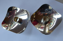 Load image into Gallery viewer, TWO / MATCHING PAIR of Danish Square Shaped Small Silver Plate Taper Berg Candle Holders