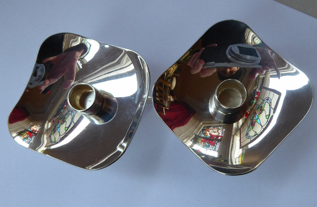 TWO / MATCHING PAIR of Danish Square Shaped Small Silver Plate Taper Berg Candle Holders