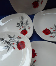 Load image into Gallery viewer, MIDWINTER. Set of FIVE Pretty 1960s Side Plates; 7 1/2 inches. Red Rose Motif. CARMEN Pattern