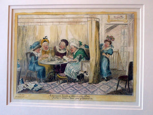 Original FRAMED 1835 Antique GEORGIAN Satirical Print / Etching by George Cruikshank. A Curious Junta of Slandering Elves