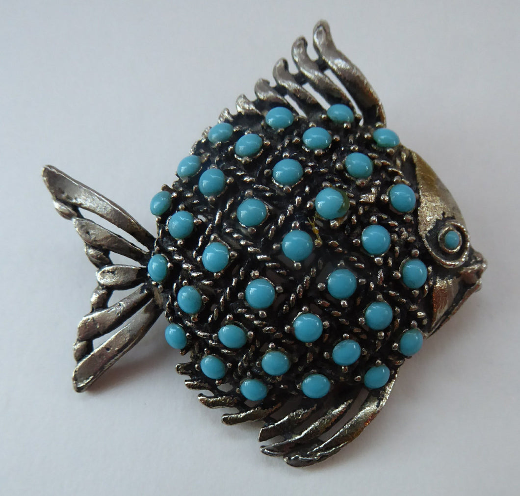 Vintage 1960s Fish Brooch: Silver Tone with Lots of Little Turquoise Coloured Inclusions