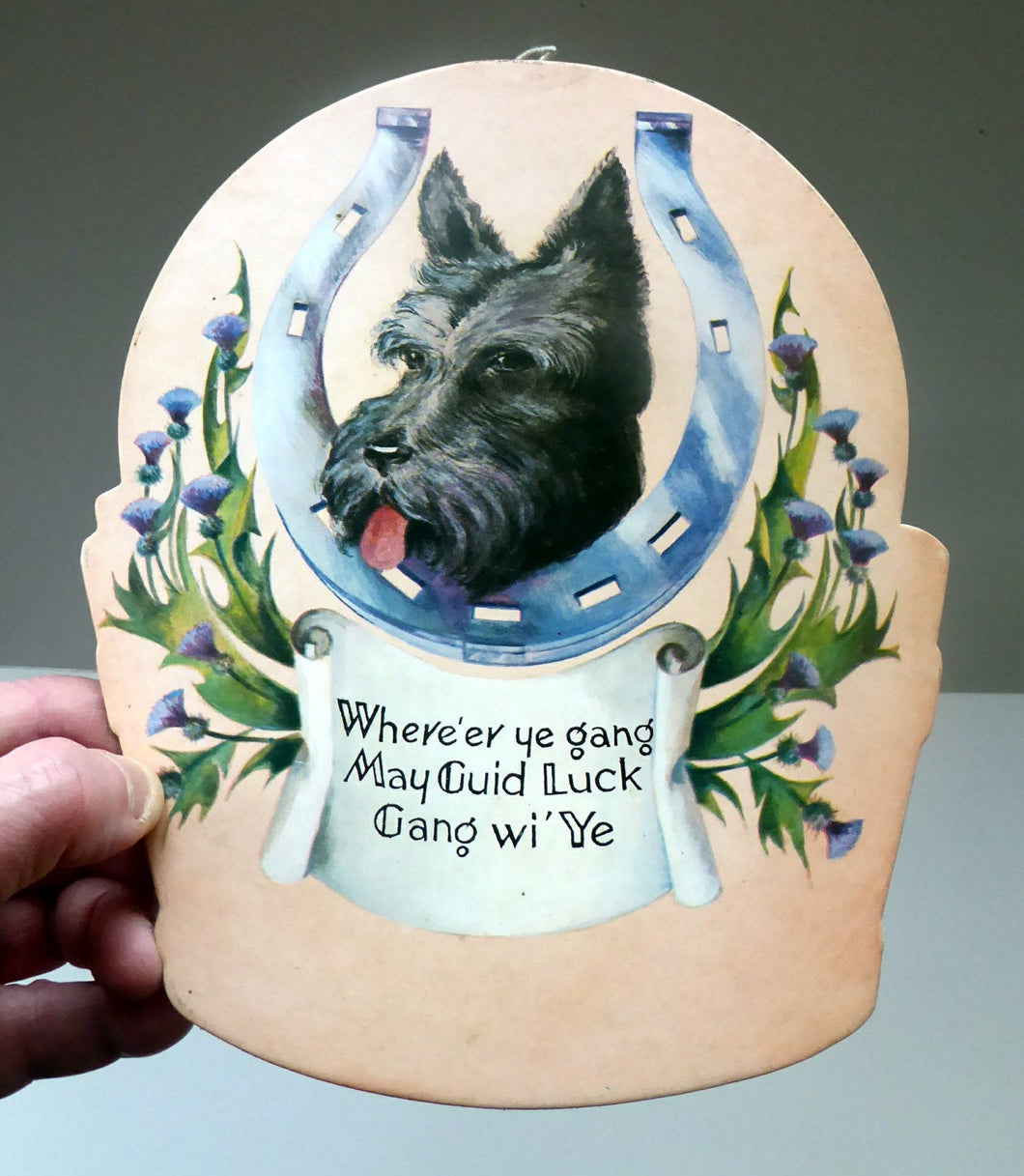 Genuine 1950s Scottish Cardboard Wall Calendar: Featuring a Scottie Dog, with his Head Through a Lucky Horse Shoe