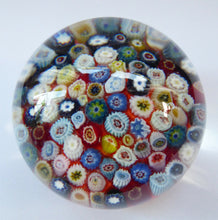 Load image into Gallery viewer, Vintage Scottish Paperweight, possibly by STRATHEARN GLASS. Scarlet Ground with a Carpet of Millefiori Canes