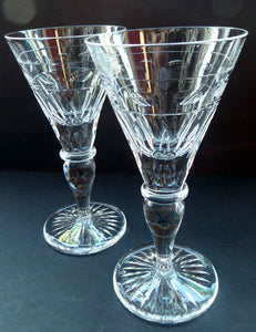 CUMBRIA CRYSTAL. Pair of Top Quality Tall Glass Wine Goblets: Downton Abbey Style. 7 inches in height