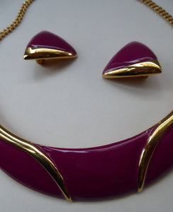 Vintage 1980s MONET Gold Tone & Purple Choker Necklace with Matching Ear-rings