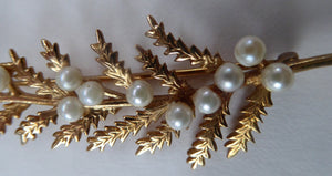 9ct Gold 1950s Mid Century Vintage Fern Brooch Set with 12 Tiny Natural Pearls