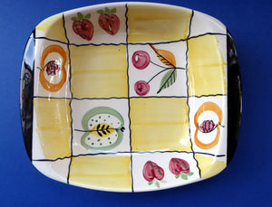 Rare Mid Century 1960s SWEDISH JIE GANTOFTA Shallow Bowl; with abstract fruits