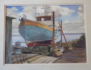 New Zealand Artist. RON STENBERG (1919 - 2017). Fishing Boat, Oland, SWEDEN. Signed and Dated 1983