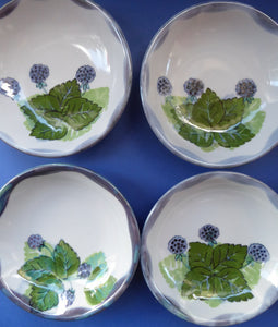 SCOTTISH Vintage WILD BERRIES Design Shallow Bowl by Highland Stoneware, Scotland. Hand-Decorated
