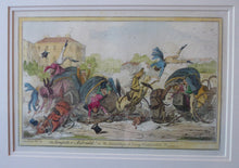 Load image into Gallery viewer, Original FRAMED 1835 Antique GEORGIAN Satirical Print / Etching by George Cruikshank. The Comforts of a Cabriolet