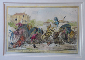 Original FRAMED 1835 Antique GEORGIAN Satirical Print / Etching by George Cruikshank. The Comforts of a Cabriolet