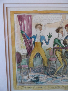 Original FRAMED 1835 Antique GEORGIAN Satirical Print / Etching by George Cruikshank. A Dandy Fainting at the Opera