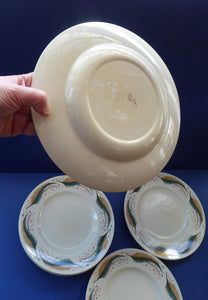 Rare 1950s Vintage Susie Cooper Pottery BRACKEN PATTERN Dinner Plates. KESTREL shape. 10 inches