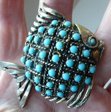 Load image into Gallery viewer, Vintage 1960s Fish Brooch: Silver Tone with Lots of Little Turquoise Coloured Inclusions