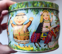 Load image into Gallery viewer, Vintage 1960s THORNE'S Toffee Tin: Robin Hood and his Merry Men Design