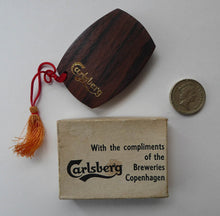 Load image into Gallery viewer, Collectable Brewing Collectable. 1970s Danish CARLSBERG  Stainless Steel & Rosewood Bottle Opener.  In original box: