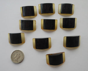 Rare Set of  Ten Art DECO Two Tone LUCITE / PERSPEX Buttons