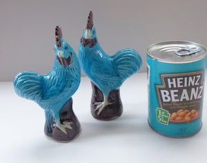 Vintage CHINESE EXPORT Pair of Turquoise Rooster / Chicken Figurines - with Aubergine Cock Combs and Tree Stump