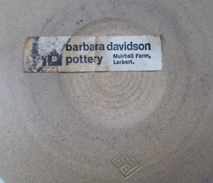 Vintage SCOTTISH STUDIO POTTERY Bowl, by Barbara Davidson. 1970s with hand-painted decoration