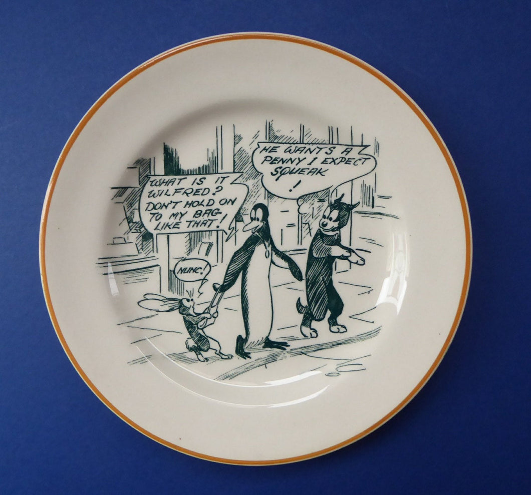 1920s Royal Doulton Daily Mirror Pip, Squeak & Wilfred Side Plate. 6 1/2 inches diameter. EXTREMELY RARE