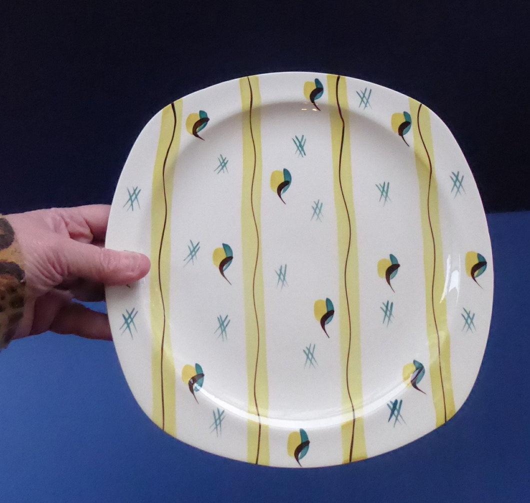 1950s MIDWINTER Square Dinner Plates. Collectable FIESTA PATTERN. Designed by Jessie Tait in 1953