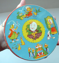 Load image into Gallery viewer, 1950s NURSERY RHYMES Sweetie Tin. Wilkin's Ltd. Includes: Humpty Dumpty, Mary Had a Little Lamb, Jack and Jill etc