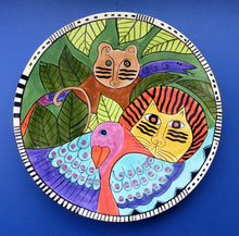 Load image into Gallery viewer, Huge & Rare Giant Laurel Burch Cat / Jungle Design Wall Plaque or Charger. Dated 1998. 16 inches.