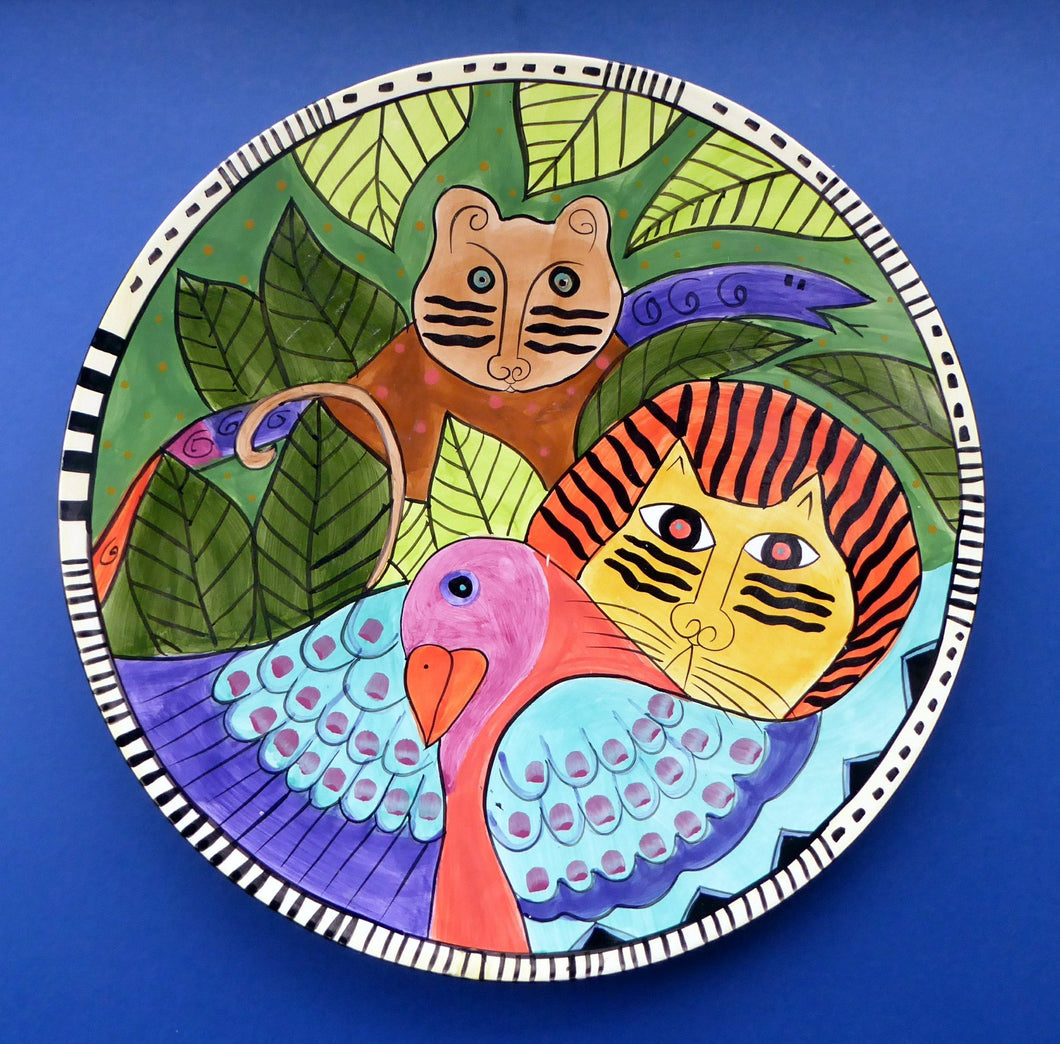 Huge & Rare Giant Laurel Burch Cat / Jungle Design Wall Plaque or Charger. Dated 1998. 16 inches.