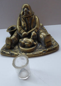 LARGE Antique Victorian Inkwell  Made of Cast Brass. Design features Daniel Lambert, Fattest Man Eating a Chicken, 1900s