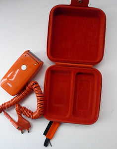 Orange Braun Electric Shaver, 1970s. Complete with original brush & in its own orange velvet lined carrying case