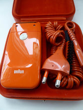 Load image into Gallery viewer, Orange Braun Electric Shaver, 1970s. Complete with original brush & in its own orange velvet lined carrying case