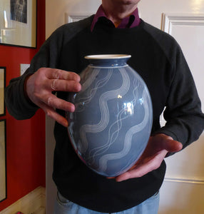LARGE Vintage 1950s German SCHRAMBERG Vase. WINDSOR Grey-Blue with Abstract Scgraffito Decoration
