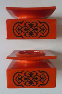 1960s Pair of CARLTON WARE Orange Squat Square Shaped Candlesticks with Abstract Chocolate Pattern