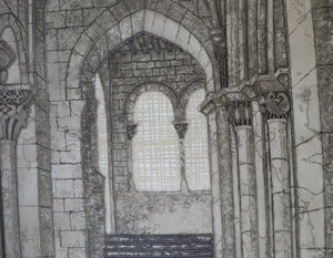 Listed Artist. Valerie Thornton (1931 - 1991). Romanesque Church, Segovia. Etching & Aquatint. Signed and dated 1979