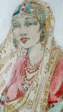 Load image into Gallery viewer, Elyse Ashe Lord (1900 - 1971). Rare Original Watercolour Painting. Indian Lady with Bird