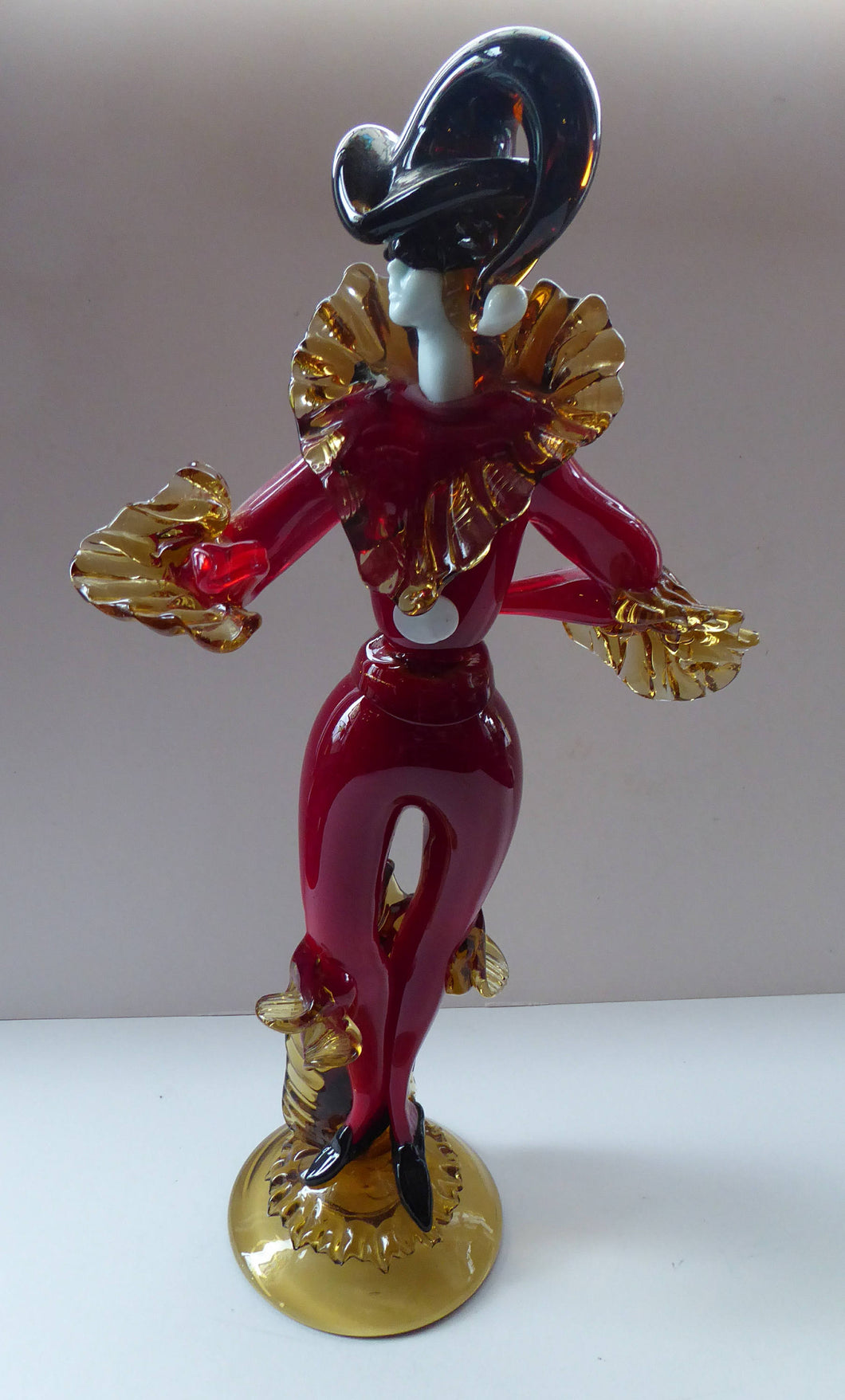 MASSIVE Signed Vintage Italian Murano Glass Pierrot / Comdia Dell' Arte Figurine by Franco Toffolo. 18 inches in height
