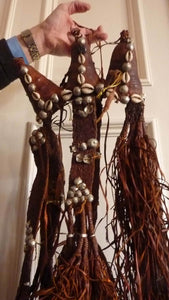 CAMEL HALTER or Headdress. Made of Tan Leather with Leather Tassels & Cowrie Shells. Vintage Early 20th Century